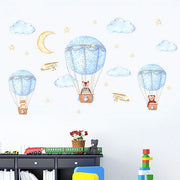 Three Friends Air Balloon Baby Nursery Wall Sticker 2