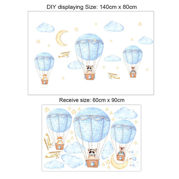 Three Friends Air Balloon Baby Nursery Wall Sticker Size