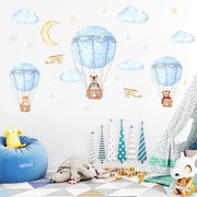 Three Friends Air Balloon Baby Nursery Wall Sticker