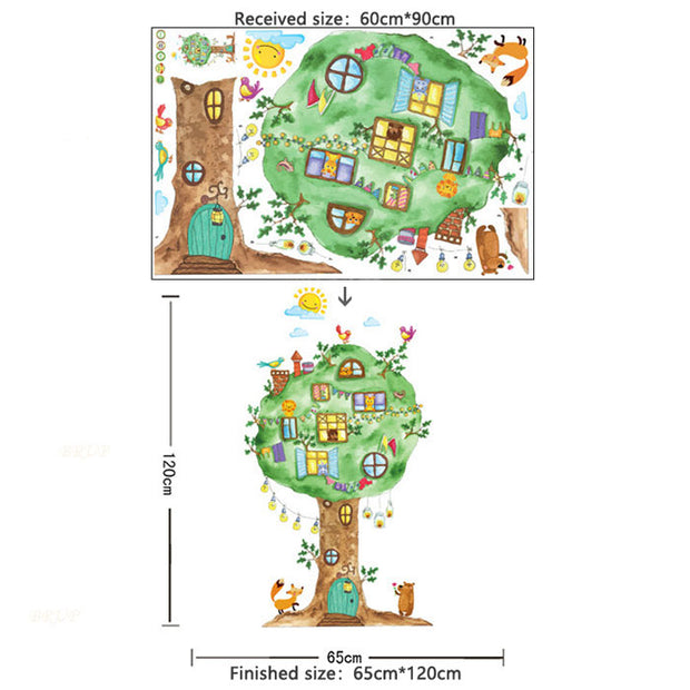 Tree House Baby Nursery Wall Sticker Size