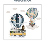 Twin Hot Air Ballons Wall Sticker display size