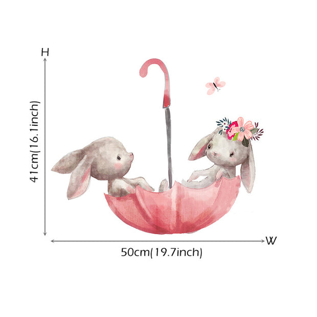 Umbrella Bunnies Baby Nursery Wall Sticker Size