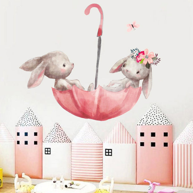 Umbrella Bunnies Baby Nursery Wall Sticker