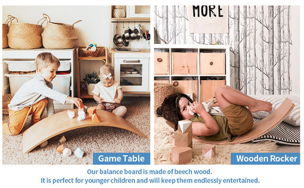 Varnished Kids Wooden Balance Board as game table
