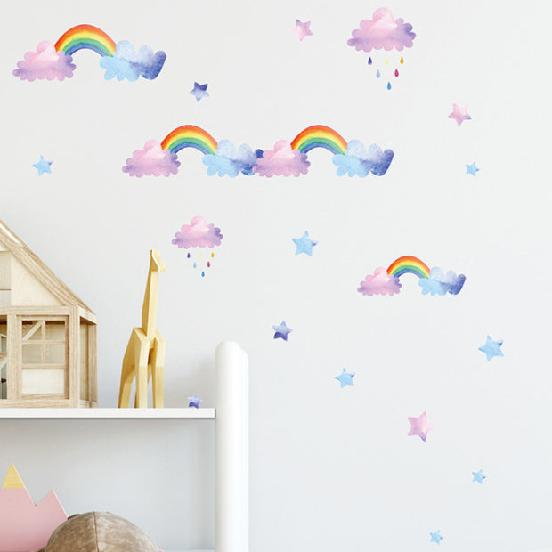 Watercolor Cloud Rainbow Baby Nursery Wall Sticker
