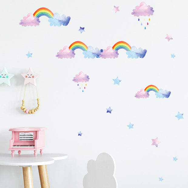 Watercolor Cloud Rainbow Nursery Wall Sticker