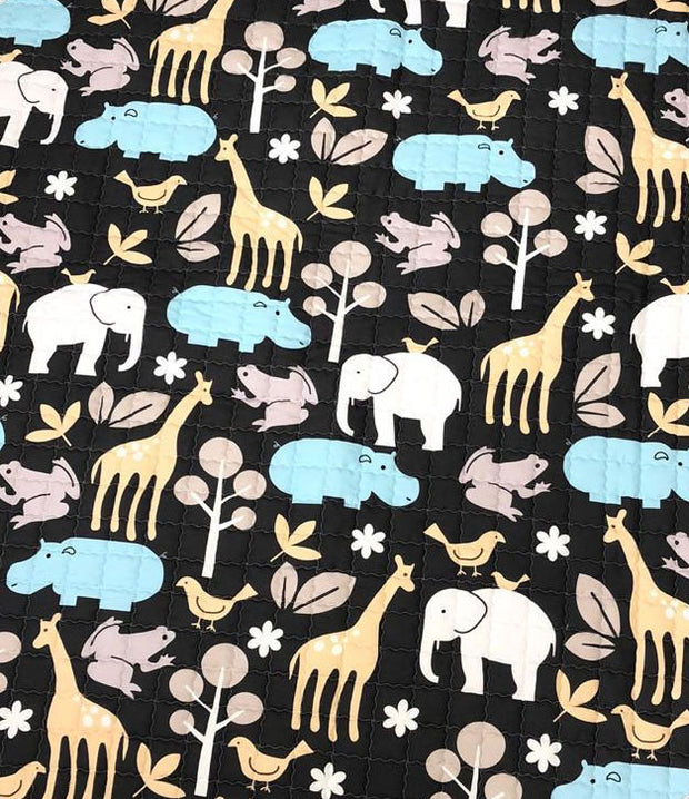 Wildlife Round Baby Play mat Closeup