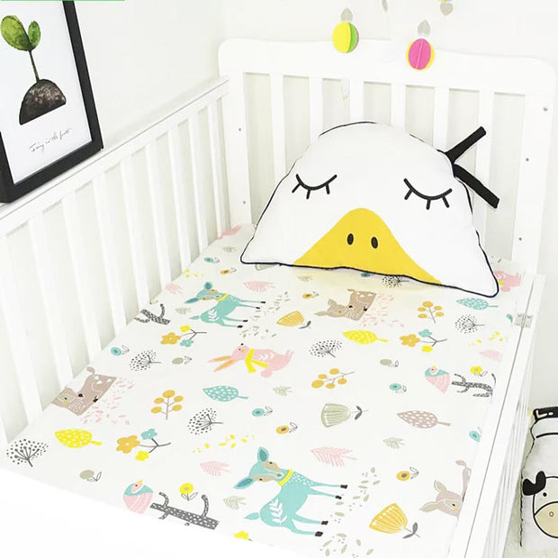 Woodland Animals Fitted Cotton Baby Cot Sheet front