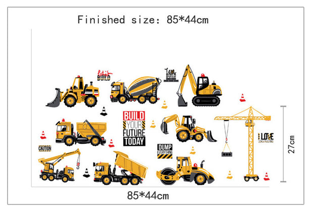 Yellow Construction Vehicles Wall Sticker