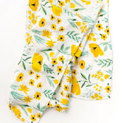 Yellow Flowers Baby Swaddle Wrap 120-120 cm full