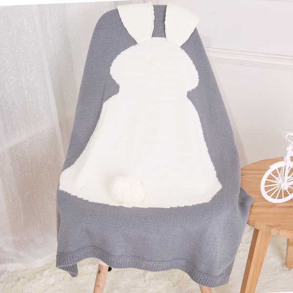 Long Ear Bunny Blanket - Grey