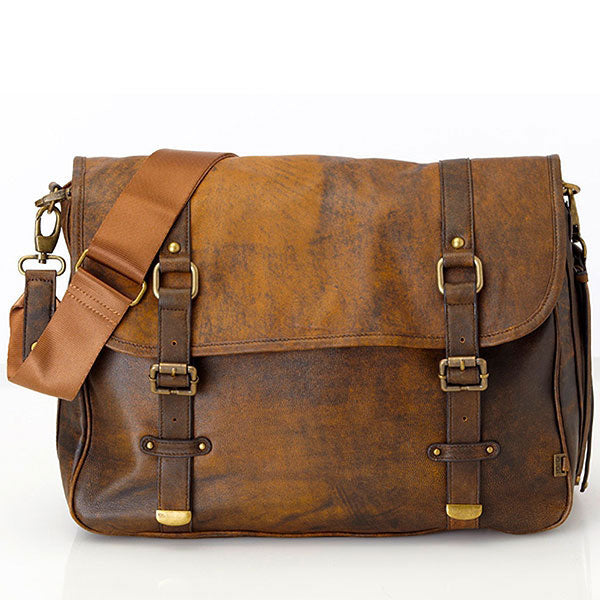 Jungle Leather Satchel with Decorative Buckles - Oi Oi