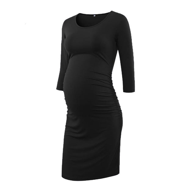 Kaya - Grey Full Sleeves Maternity Dress