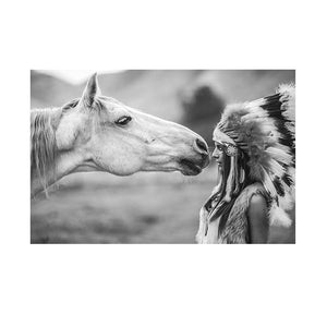 Black and White Native Indian with Horse Portrait Canvas Art Scandinavian Poster Print Wall Picture - quasituttogratis