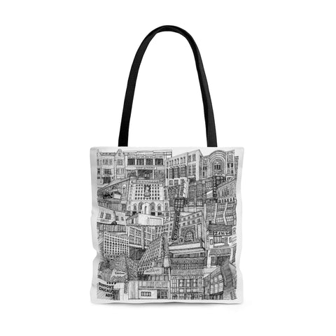Front of tote bag displays the Tiny Guide to Chicago Arts artwork by Maura Walsh - this is the main image