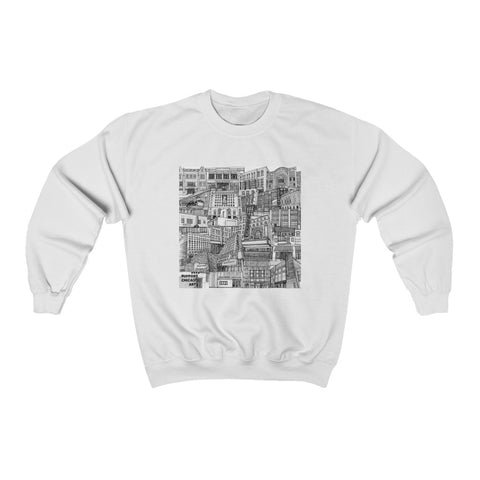 Front of White Sweatshirt which displays the artwork created by Maura Walsh - The Tiny Guide to Chicago Arts - This is the main image as the back is plain.