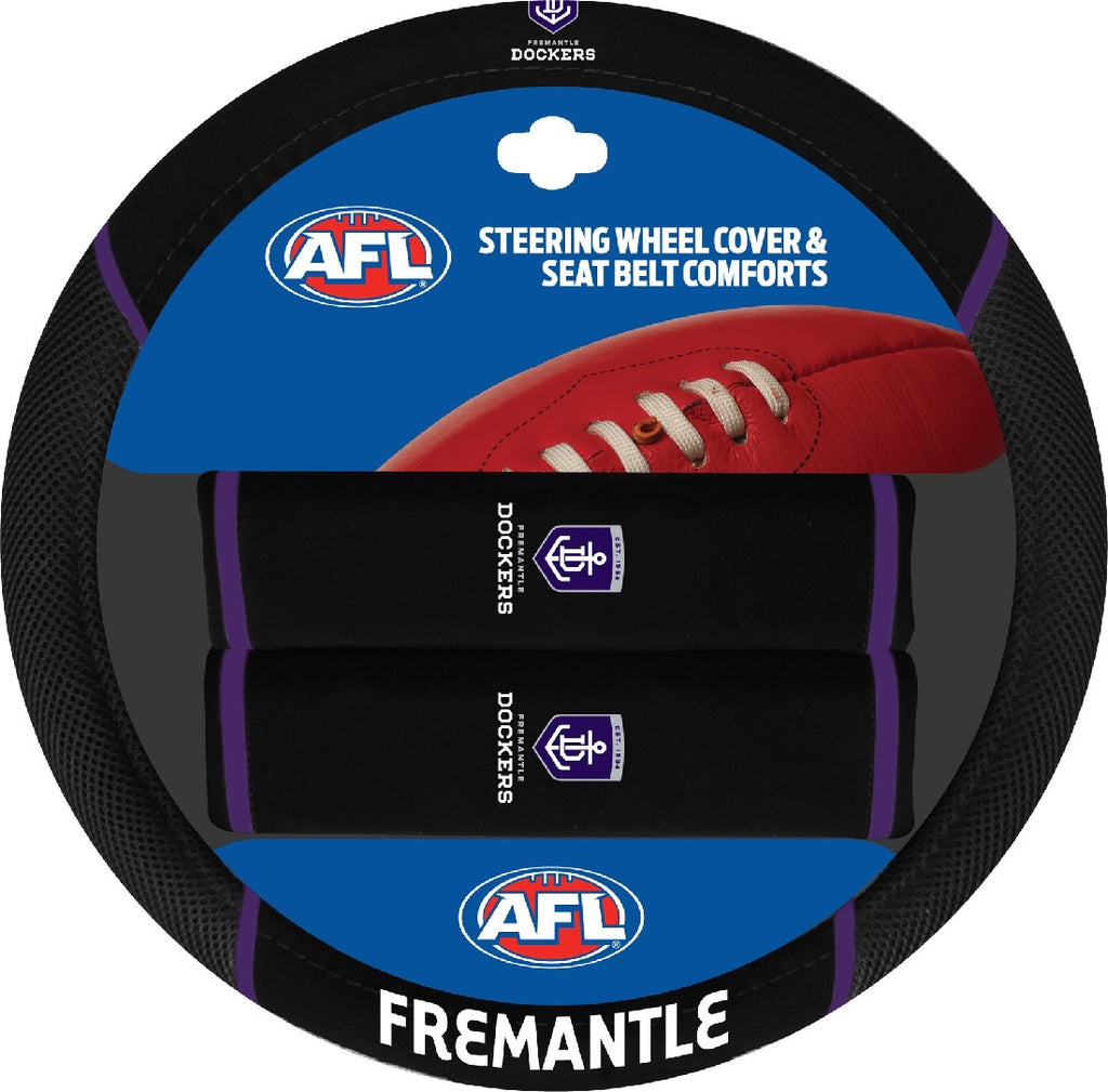 FREMANTLE OFFICIAL AFL STEERING WHEEL COVER