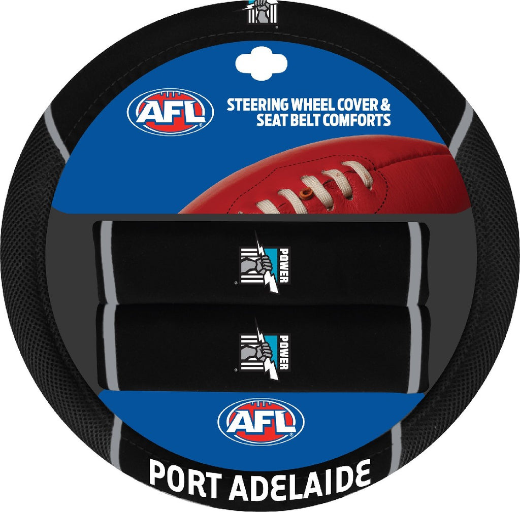 PORT ADELAIDE OFFICIAL AFL STEERING WHEEL COVER