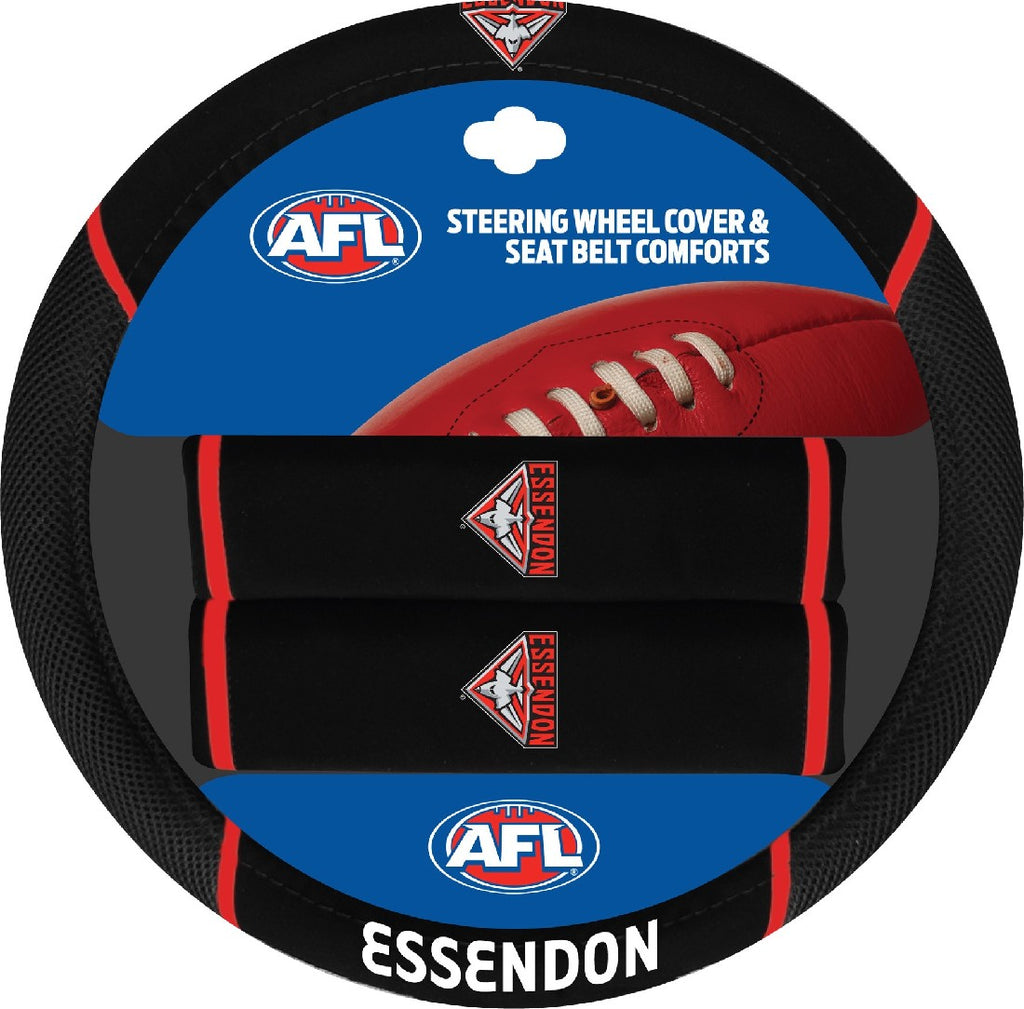 ESSENDON OFFICIAL AFL STEERING WHEEL COVER