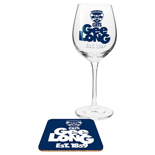GEELONG WINE GLASS WITH COASTER