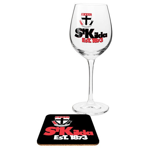 ST KILDA WINE GLASS WITH COASTER
