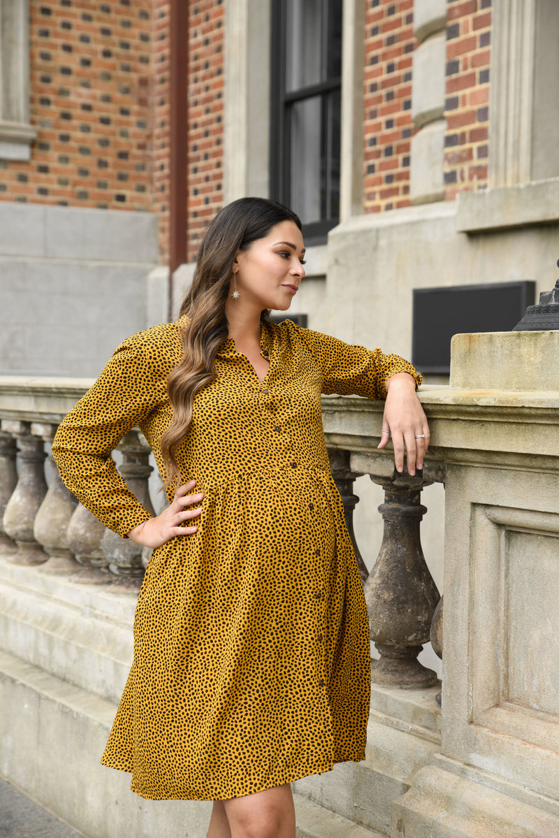 Amy Easy Wear Dress - Mustard