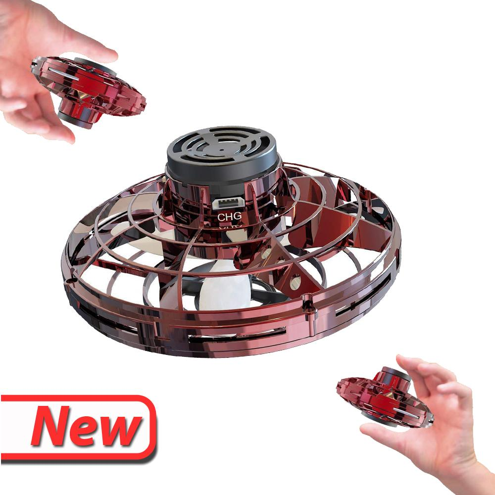 UFO HandsFree Hand Operated Mini LED Drone FlyNova Flying Fidget Spinner Decompression Toys for Kid Child Girl Adult