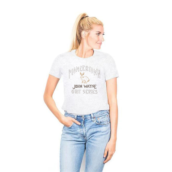 PIONEER TOWN WOMEN'S JACK RABBIT TEE (HEATHER WHITE)