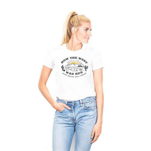 HOW THE WEST WAS RUN WOMEN'S TEE- WHITE