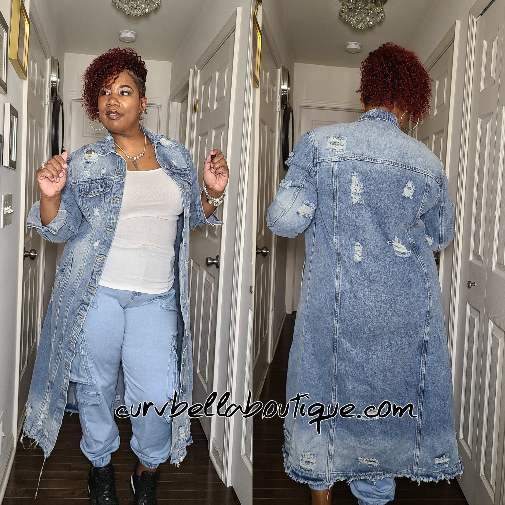 Oversized Denim Midi Jacket