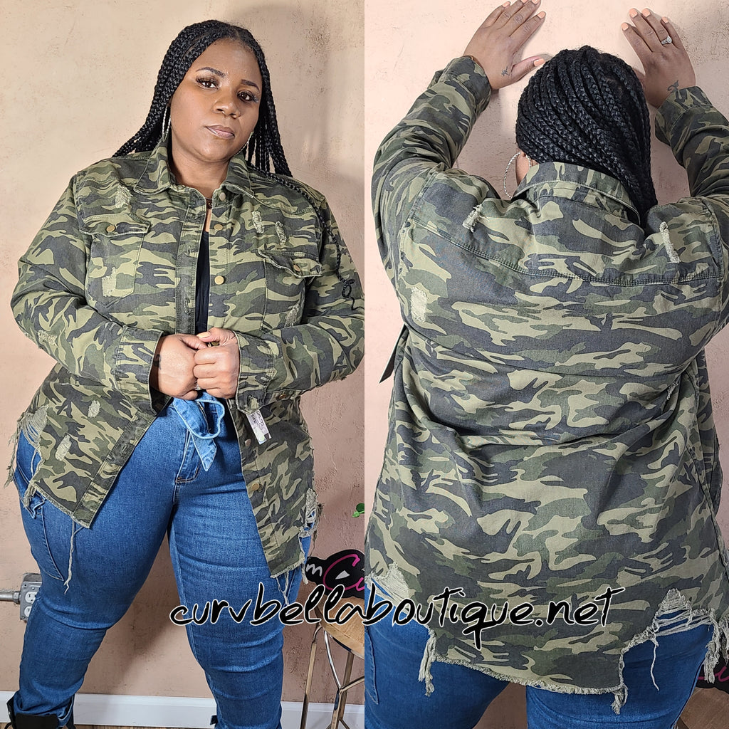 Distressed Camouflage Jacket