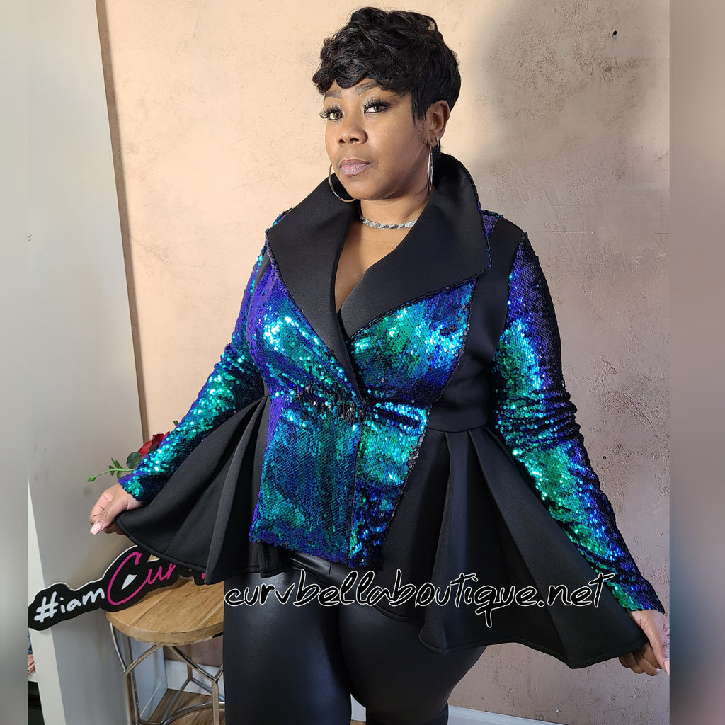 Sequin Peplum Jacket