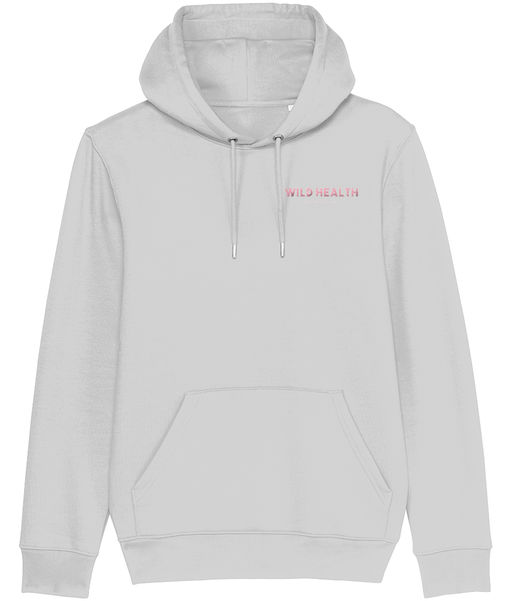 Wild Health Embroidered Cruiser Hoodie - Grey/Pink