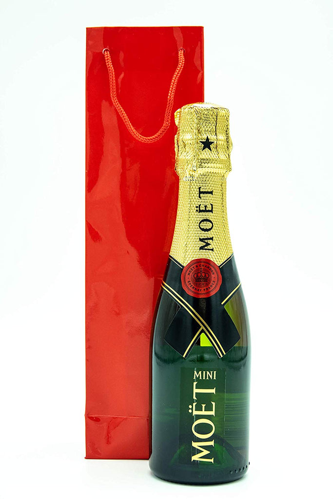 Moët & Chandon Brut Champagne 20cl in a Deluxe Red Gift Bag - Mini Moët