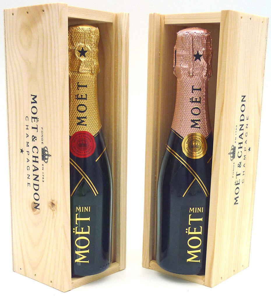 Moët & Chandon Brut & Rose Champagne Mini Moët Duo 2 x 20cl, in Wooden Champagne Gift Boxes