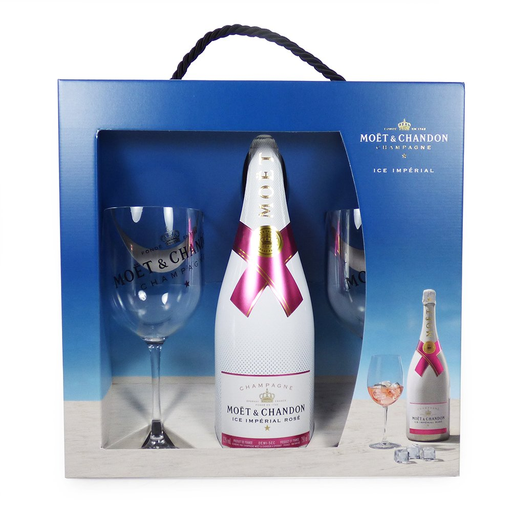 Moët & Chandon Rosé Champagne 75cl Ice Imperial Sharing Set with 2 Matching Glasses