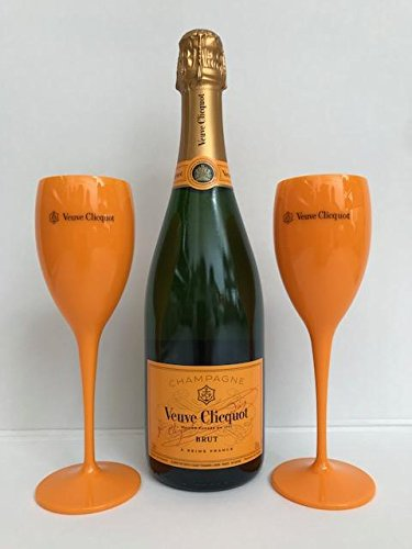 Veuve Clicquot Yellow Label Brut Champagne 75cl with 2 Acrylic Drinking Flutes