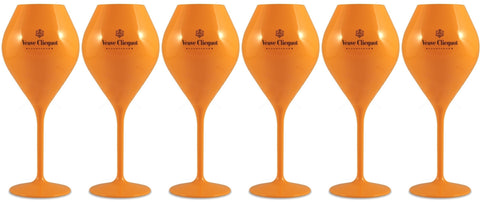 Veuve Clicquot Yellow Label Champagne Polycarbonate Coupe Glasses x 6