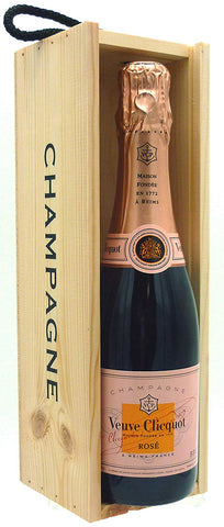 Veuve Clicquot Rosé Champagne 37.5cl in a Wooden Champagne Gift Box
