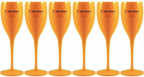 Veuve Clicquot Yellow Label Polycarbonate Champagne Flutes x 6