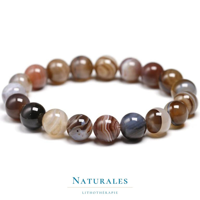Bracelet Agate du Botswana - motivation - Naturales.fr