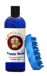 PETfection Natural and Organic Puppy Suds Dog Shampoo with Scrub Brush Combo