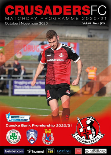 Crusaders FC Official Match Programme - Cliftonville/Coleraine/Dungannon Swifts - Crusaders FC