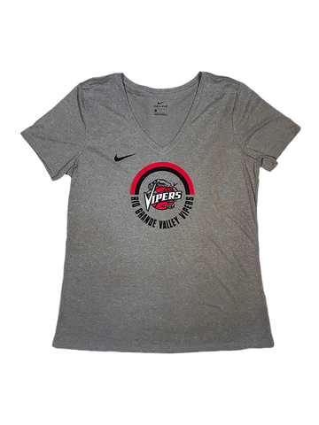 Women's Grey V-Neck Circle