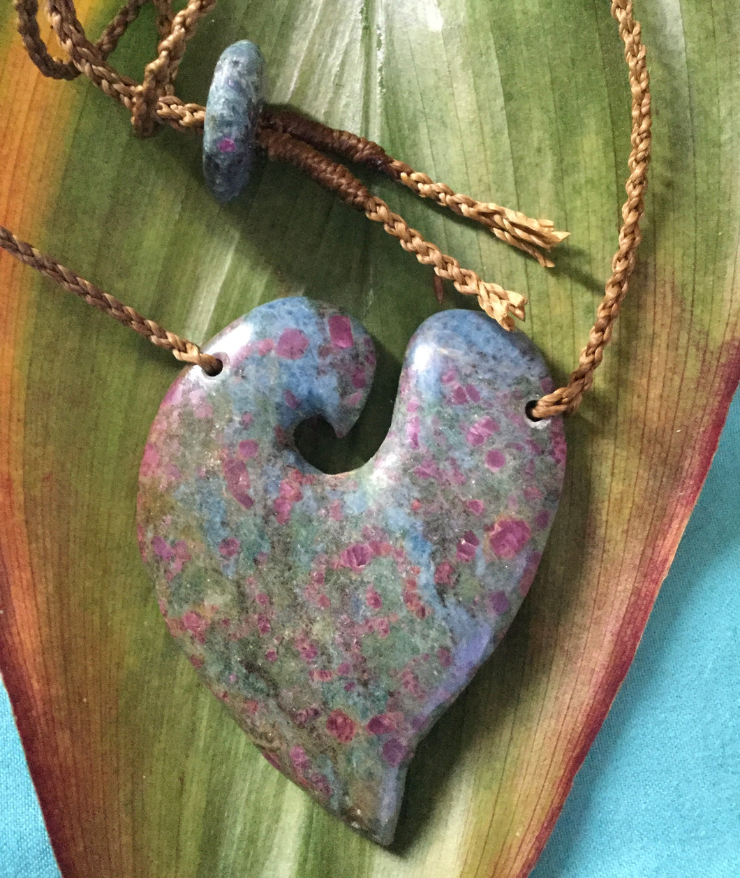 Ruby and Blue and Green Kyanite Open Heart