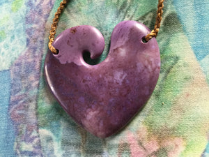 Mesmerizing Purple Jade Open Heart Necklace (Medium)