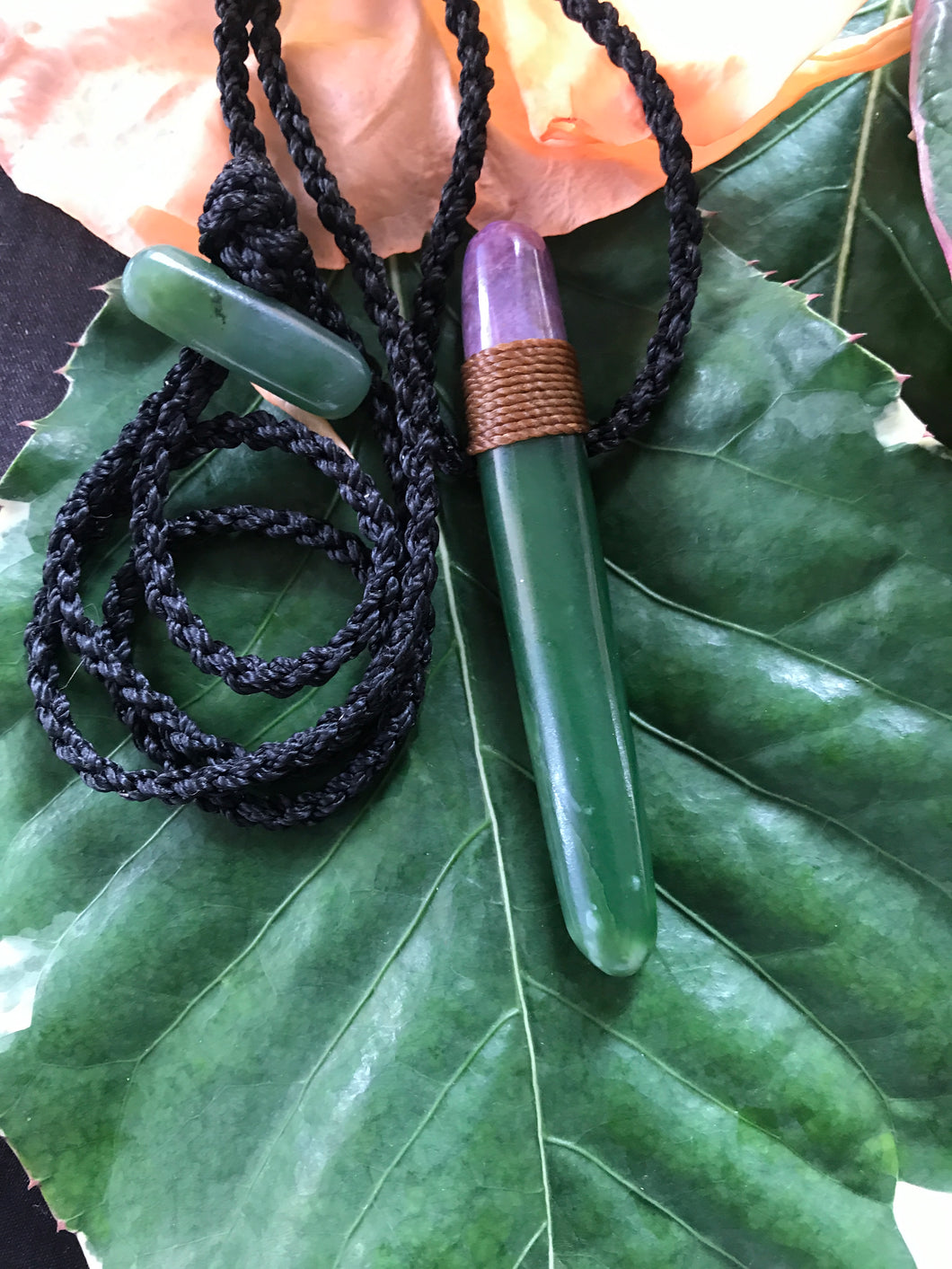 Pounamu & Purple Jade Talisman (Small)