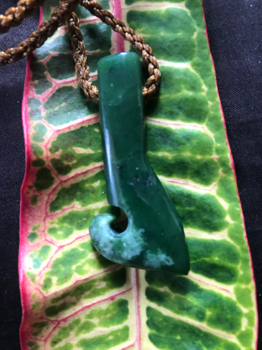 Palau-Style Pounamu Fish Hook Necklace (Small)