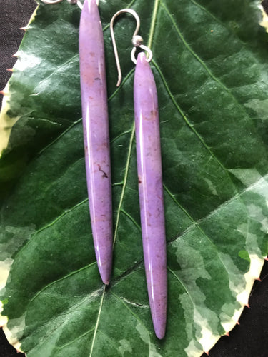 Long Purple Jade Earings