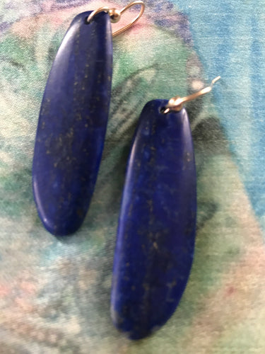 Rich, Dark Lapis Fin Earrings (Medium)